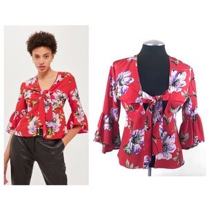 Topshop - Floral Tie Front Bell Sleeve Top